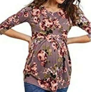 3/4 Sleeve Pleated Peplum Maternity Top, LIKE NEW